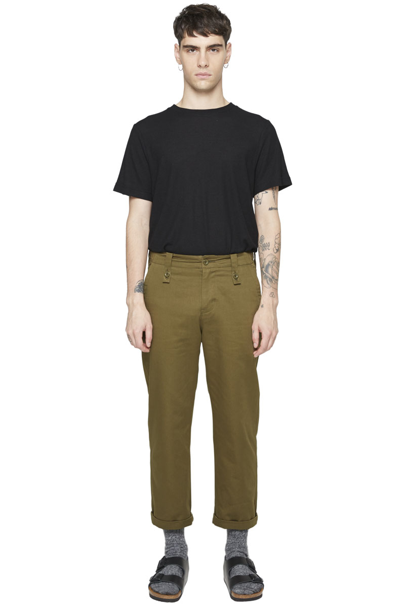 - Army type HBT pant - Large fit - 7/8 length - Large belt