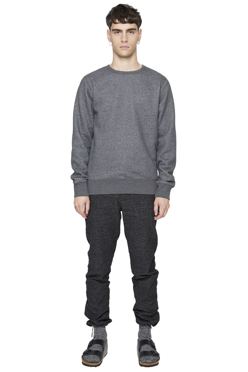 - Cotton fleece sweater - Crew neck - Finish of wrists and