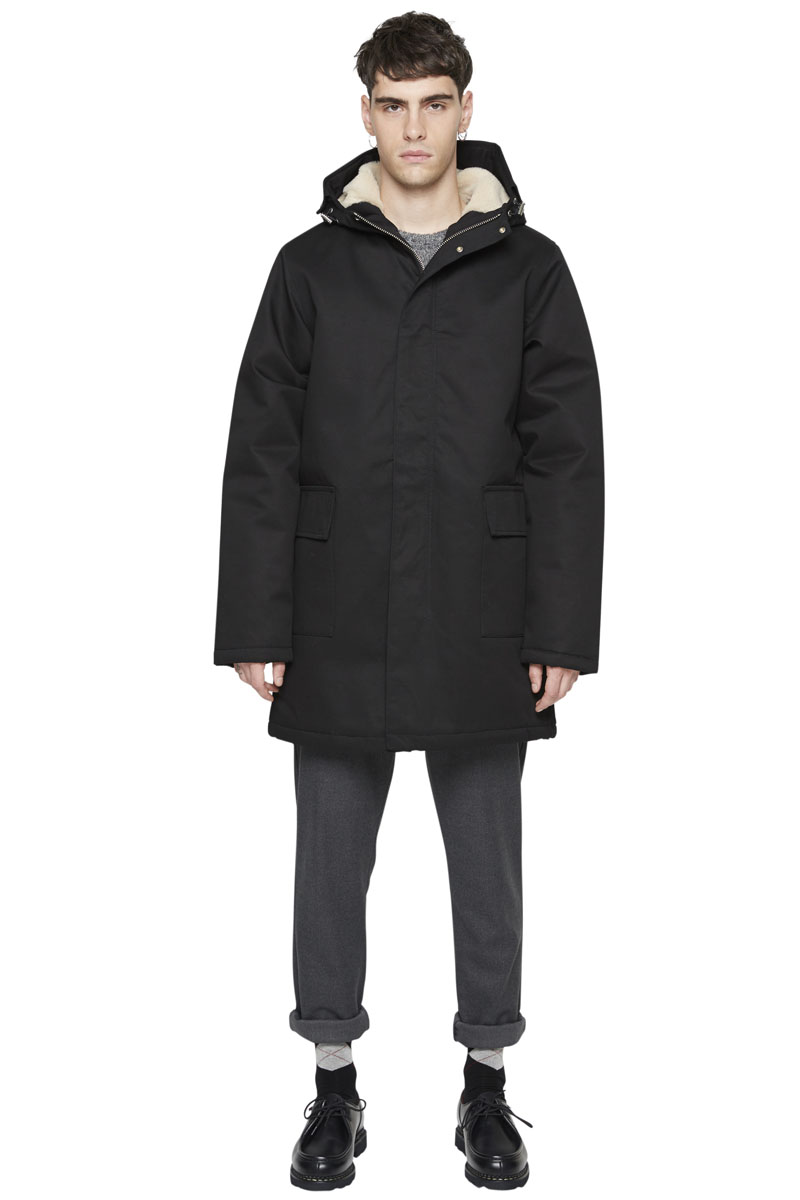 - Long length cotton laminated parka - Waterproof - Multiple