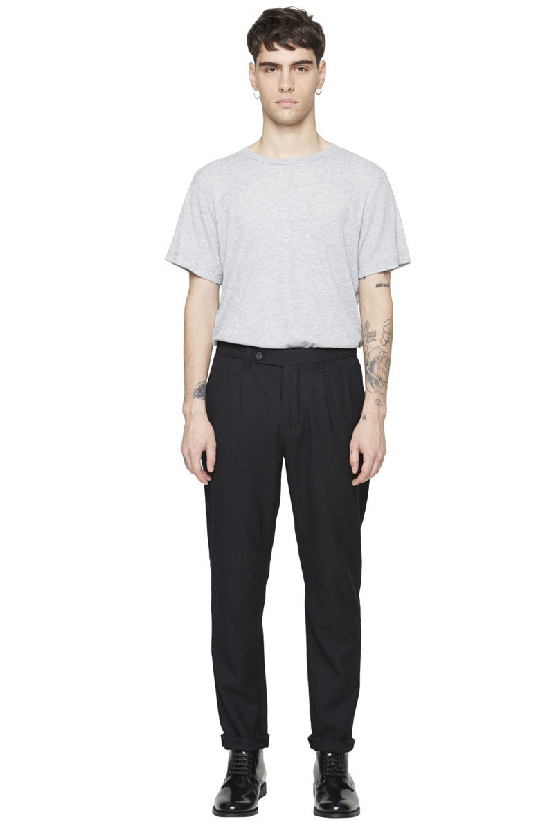 - Bi-material wool and polyester darted trouser - Slight