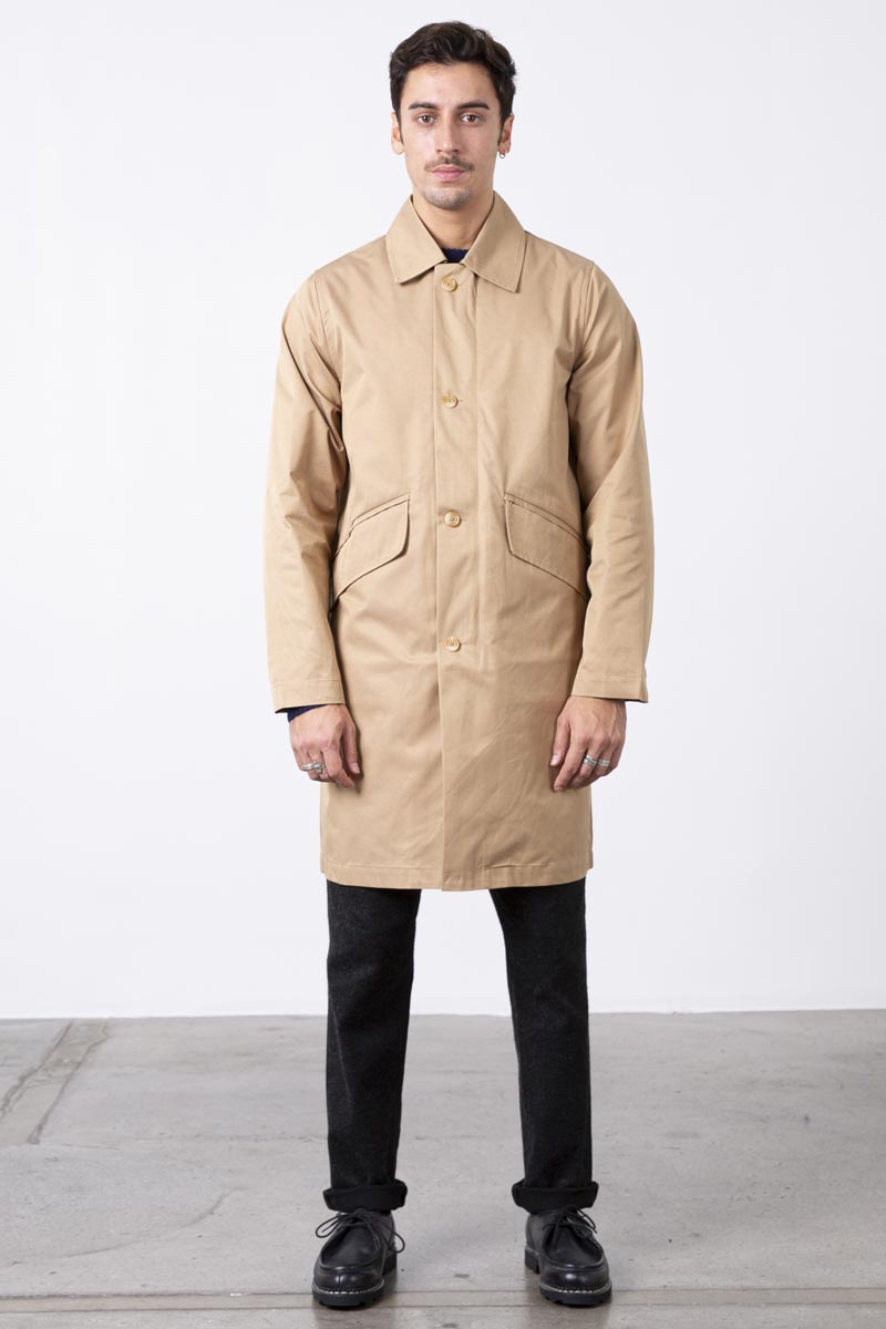Classic two pockets waterproof rain coat -Fabric cotton