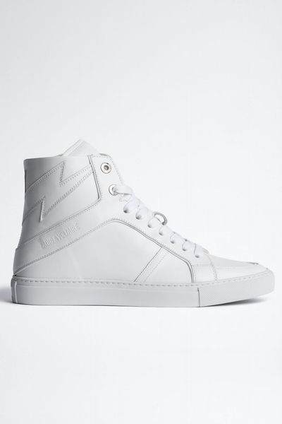 Zadig& Voltaire women's white leather high-top sneakers with