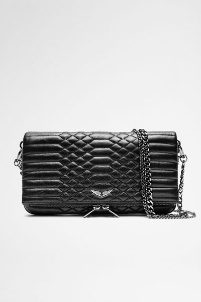 Zadig&Voltaire zip-up quilted clutch, iconic, in lambskin,