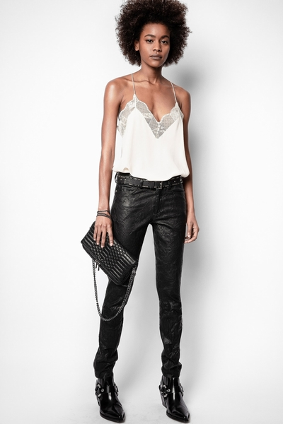 Zadig&Voltaire pants, in crinkled 100% lambskin. Permanent