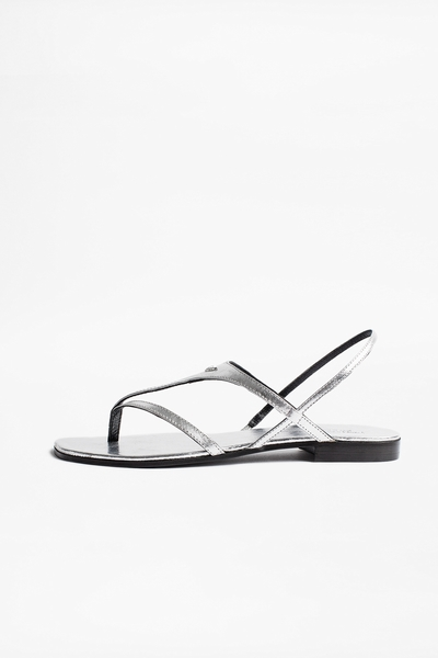 Zadig&Voltaire women's silver open leather sandals. Made in