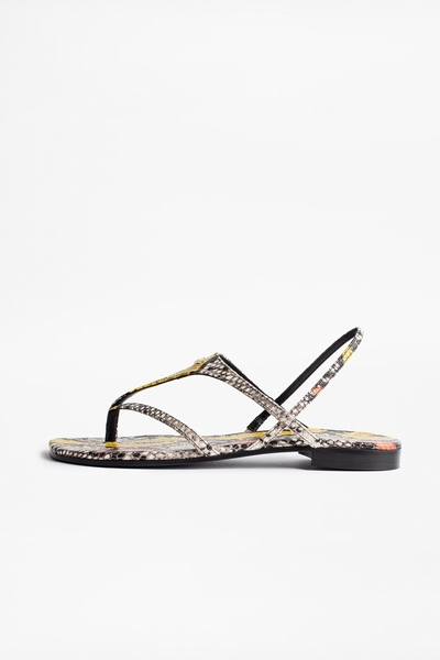 Zadig&Voltaire python pattern open leather sandals. Made in
