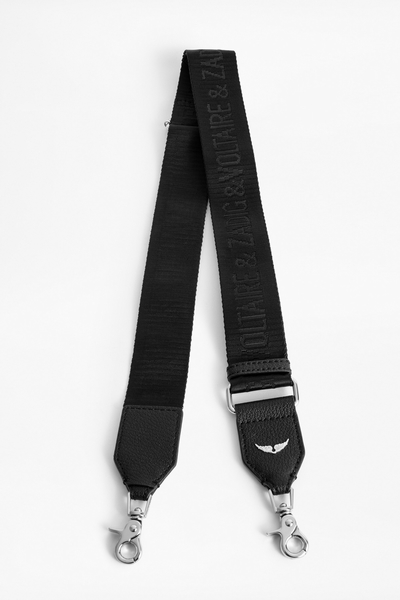 Zadig&Voltaire women's black strap, leather and woven nylon,