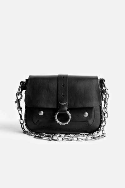 Zadig&Voltaire women's black leather crossbody bag,