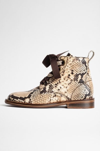 Zadig&Voltaire women's beige leather ankle boots with exotic