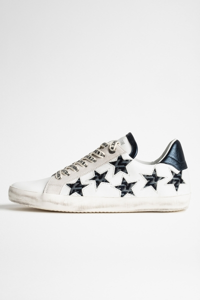 Zadig&Voltaire women's white low-top leather sneakers with