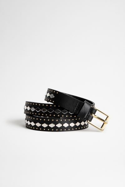 Zadig&Voltaire women's black leather belt. Made in Italy.