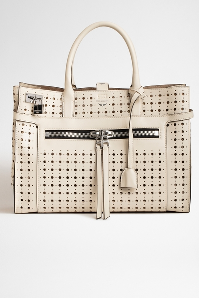 Zadig&Voltaire women's large white perforated smooth leather