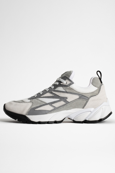 Zadig&Voltaire women's gray material mix running shoes with