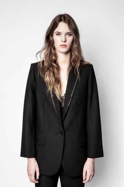Zadig&Voltaire women's black wool blazer with rhinestone
