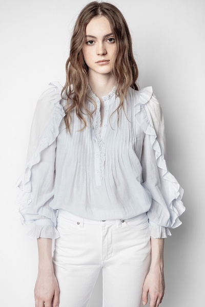 Zadig&Voltaire women's blue tunic with pleats, ruffles on