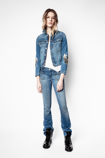 Zadig&Voltaire women's blue jeans with flap patch pockets on
