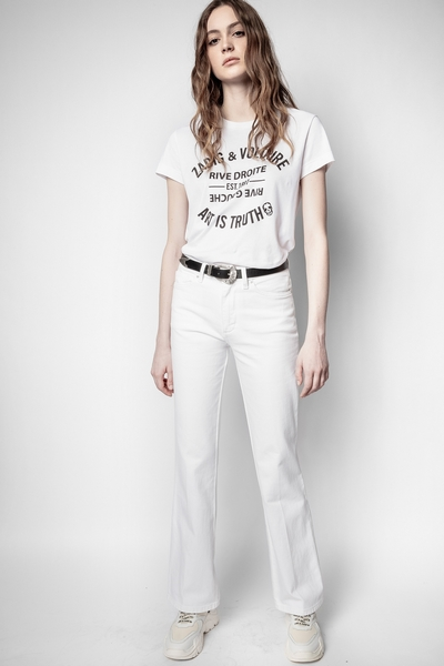 Zadig&Voltaire women's white flared jeans. Due to a