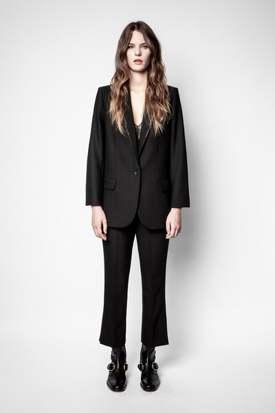 Zadig&Voltaire women's black wool pants with slits at the