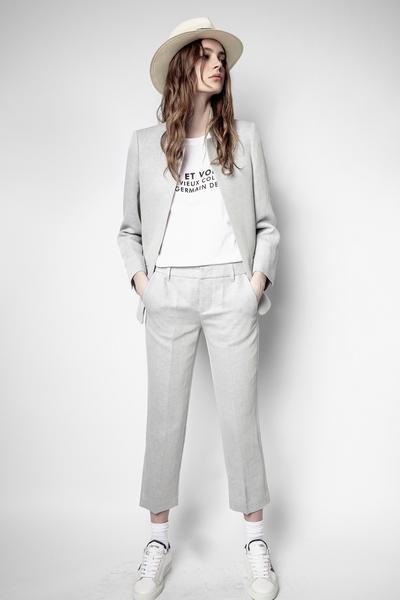Zadig&Voltaire women's blue wool straight-cut pants.Model is