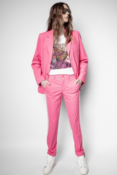 Zadig&Voltaire women's pink pants, embellished with a band