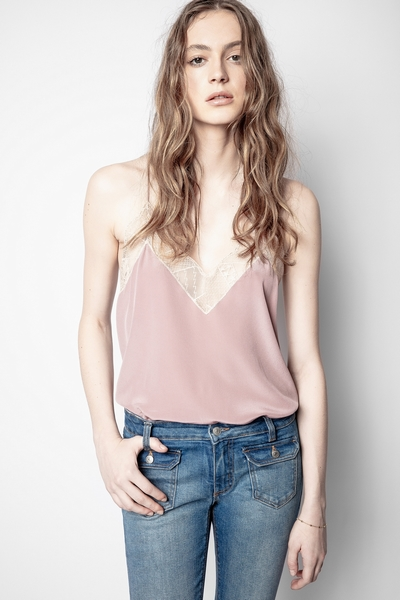 Zadig&Voltaire women's purple silk camisole with lace