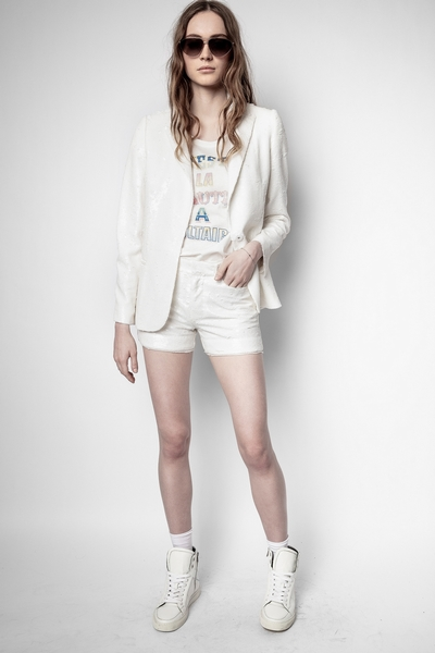 Zadig&Voltaire women's white sequin shorts. 100% polyester.