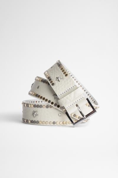 Zadig&Voltaire women's leather belt, engraved buckle, studs
