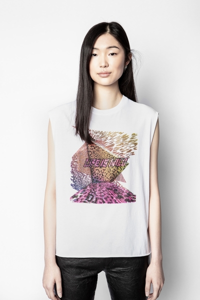 Zadig&Voltaire women's printed white tank top with