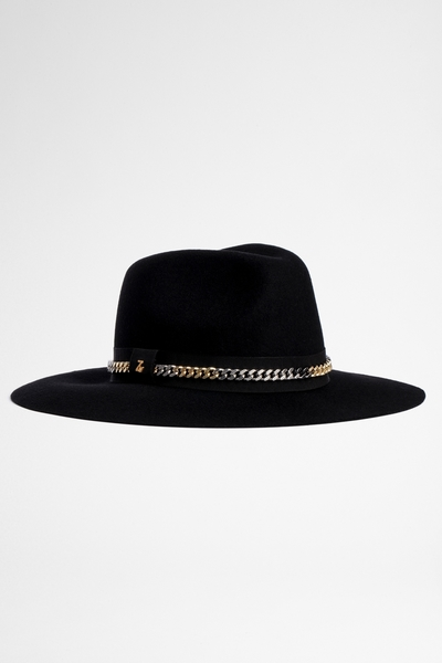 Zadig&Voltaire women's black wool hat, WITH CHAIN DETAIL.