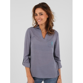 Blouse en viscose. Col chemisier. Encolure en V sur le