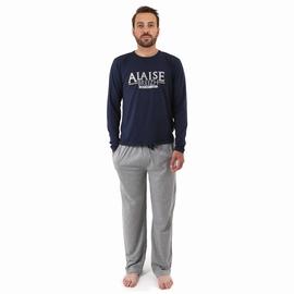 Pyjama en jersey coton.<br>T-shirt manches longues. Encolure