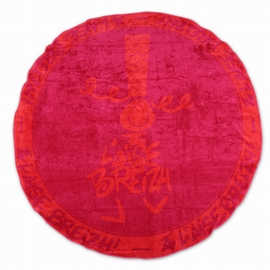 Serviette bicolore en éponge, biais contrasté sur contour.