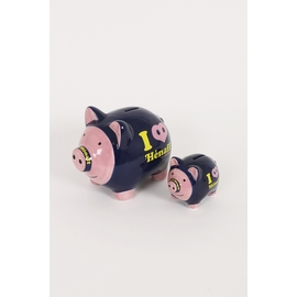Tirelire Cochon en céramique I Love Hénaff.<br> Disponible