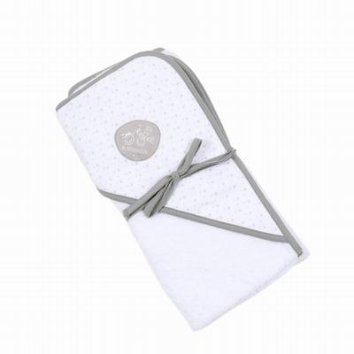 Cape de bain en éponge. Capuche imprimée avec étiquette