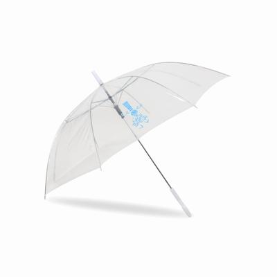 Parapluie en plastique transparent. Anse en plastique.