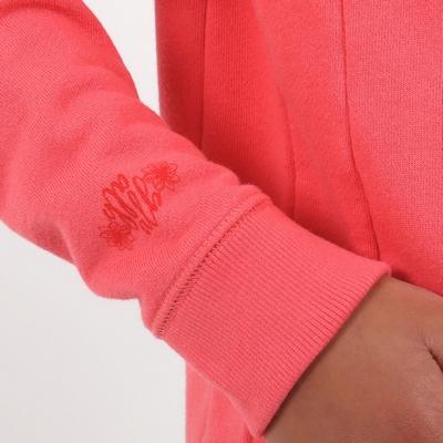 Sweat capuche en molleton. Ouverture zippée sur le devant.