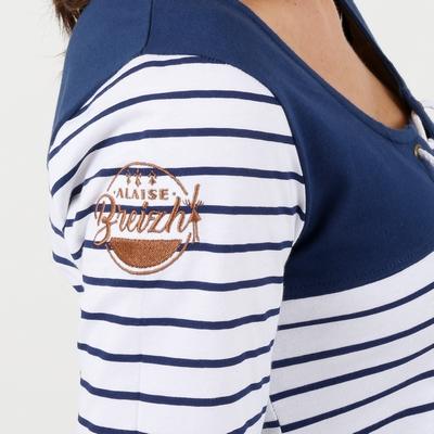 T-shirt manches longues en jersey coton. Empiècement devant