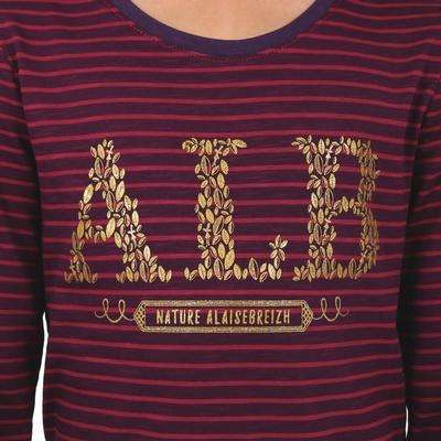 T-shirt manches longues en jersey coton slubbé. Encolure