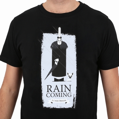 T-Shirt col rond 100% Coton, sérigraphie Rain is Coming .