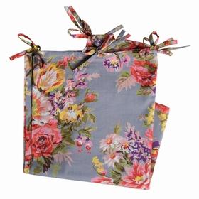 Rideau Coton Bouquet Fleur Gris