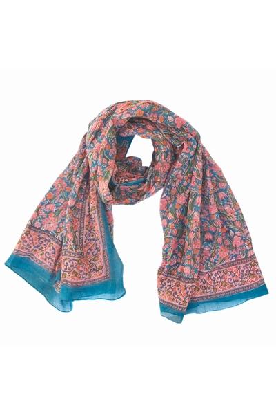 Foulard/Paréo en coton léger aux motifs fleuris imprimés au