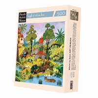 <b>Hand-cut art wooden jigsaw puzzle of 500 pieces - Made in