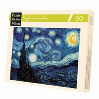 <b>Hand-cut art wooden jigsaw puzzle of 80 pieces - Made in