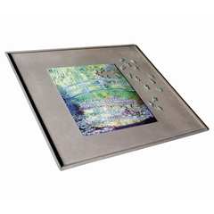 This tray is sturdy and rigid, covered with a cloth to