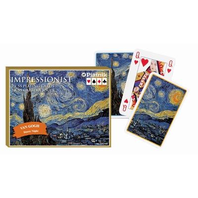 Coffret de 2 jeux de cartes de bridge. Décor artistique.