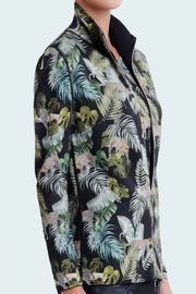 Cardigan zippé Femme extérieur imprimé, intérieur uni, en