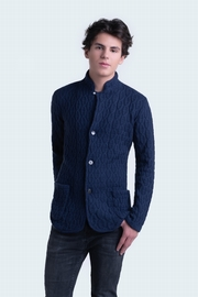100% Cashmere men cable cardigan. High neck, buttoned down,