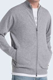 100% Cashmere 2-tone zip-up cardigan with 2 zipped side