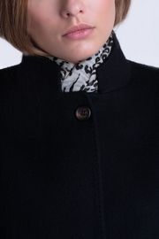 100% Cashmere straight Mao collar double face Jersey coat.