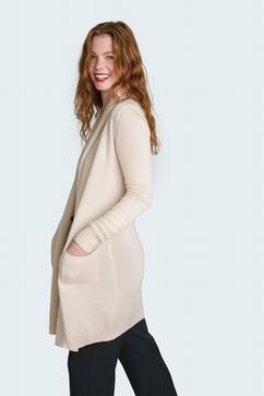 4 Ply, 100% Cashmere long shawl-collar cardigan. Slightly